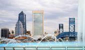 stock photo of fountains  - Beautiful Jacksonville Florida skyline and Friendship Fountain - JPG
