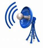 pic of antenna  - 3d illustration of blue Technology Satellite Dish Antenna - JPG