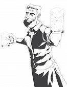 picture of bartender  - Hand drawn illustration of bartender with two beer mugs - JPG