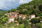 pic of naturel  - Village of Saint Circ Lapopie in France on a cloudy day - JPG