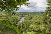 stock photo of naturel  - River Lot at Saint Circ Lapopie in France - JPG