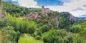 stock photo of naturel  - Panorama of the Village of Saint Circ Lapopie in France on a sunny day - JPG