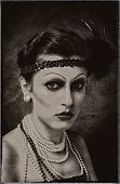 image of fine art portrait  - Retro styled femail studio portrait makeup art - JPG