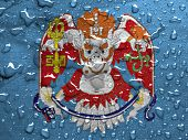 image of bator  - flag of Ulan Bator with rain drops - JPG