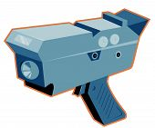 stock photo of high-speed  - vector illustration of a mobile speed camera radar gun viewed from a high angle done in retro style - JPG