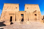 stock photo of isis  - Philae Temple of Isis located on the Agilkia Island in the reservoir of the old Aswan Dam Egypt - JPG