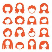 stock photo of medium-  length hair  - Vector icons set isolated on white  - JPG