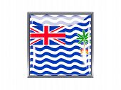 stock photo of indian flag  - Metal framed square icon with flag of british indian ocean territory - JPG