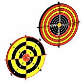 picture of crossed pistols  - Set targets for practical pistol shooting exercise - JPG