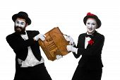 pic of struggle  - Two memes as business man and woman fighting over briefcase isolated on white background - JPG