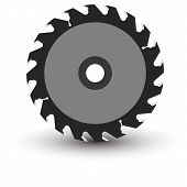 picture of sawing  - Circular saw blade on a white background - JPG