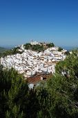 pic of pueblo  - View of the town and surrounding countryside pueblo blanco Casares Costa del Sol Malaga Province Andalucia Spain Western Europe - JPG