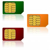 image of micro-sim  - Set color SIM cards a Vector illustration - JPG