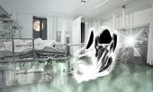 stock photo of ward  - Phantom of patient in the ward - JPG
