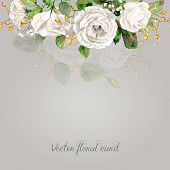 stock photo of greeting card design  - Vintage floral greeting card - JPG