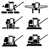 stock photo of combine  - vector agricultural vehicles harvesting combine silhouettes set - JPG