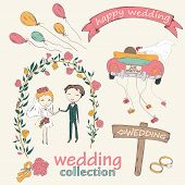 pic of married couple  - Wedding hand drawn doodle collection for wedding ceremony organizer - JPG
