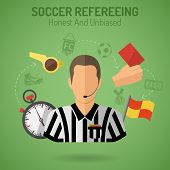 stock photo of referee  - Football Poster with Soccer Referee Flags whistle and Stopwatch Flat Icons - JPG