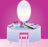 pic of perfume  - A Womans Dressing Table with Hair drier Makeup Perfume Nail Varnish Hair Straighteners and a Hair Brush - JPG