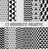 stock photo of pattern  - Set of 12 Seamless Geometric Background Patterns - JPG