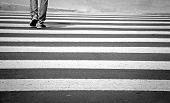 picture of zebra crossing  - young man walkinng on zebra crossing - JPG