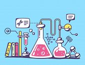 picture of chemical reaction  - Vector illustration of red and yellow chemical laboratory flasks on blue background - JPG