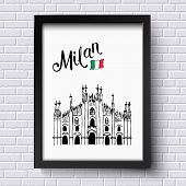 picture of italian flag  - Patriotic or travel poster design for Milan - JPG