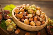 picture of cobnuts  - Fresh hazelnuts in the wooden bowl on the table - JPG