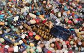 image of lapis lazuli  - A heap of semiprecious stones as jewelry - JPG