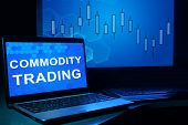 picture of trade  - Computer with words commodity trading - JPG