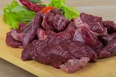 image of deer meat  - Raw wild venison meat  - JPG