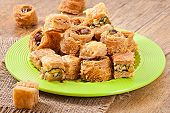 image of baklava  - Delicious and fresh oriental sweets baklava with nuts - JPG