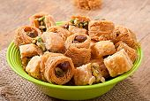 pic of baklava  - Delicious and fresh oriental sweets baklava with nuts - JPG