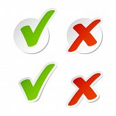 image of check mark  - Vector illustration of check mark stickers  - JPG