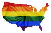 pic of united states map  - United states map with States covered with LGBT flag colors - JPG