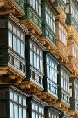 image of maltese  - Balconies on traditional Maltese house in the capital city of Valletta - JPG