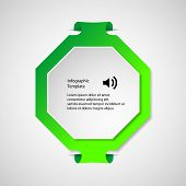 stock photo of octagon  - Illustration infographic with a shape of green octagon with folded corners and second white in front with space for own text - JPG