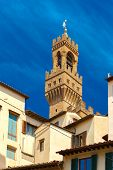 foto of piazza  - Famous Arnolfo tower of Palazzo Vecchio on the Piazza della Signoria at morning in Florence - JPG