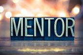 picture of mentoring  - The word MENTOR written in vintage metal letterpress type on a soft backlit background - JPG