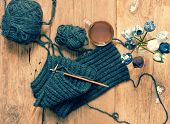 picture of knitting  - Handmade gift for special day as mother day father day valentine day or wintertime heap of ball of wool to knit colorful scarf for cold day knitting to make meaningful present - JPG