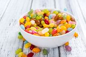 stock photo of close-up shot  - Portion of colorfull Jelly Beans  - JPG