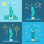stock photo of statue liberty  - Flat design 4 styles of statue of liberty illustration vector - JPG