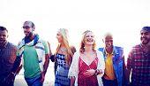 stock photo of bonding  - Diverse Beach Summer Friends Fun Bonding Concept - JPG