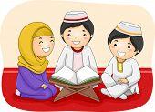 picture of muslim kids  - Illustration of Little Muslim Kids Reading the Quran - JPG