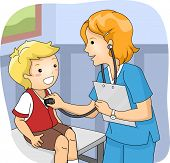 stock photo of infirmary  - Illustration of a Little Boy Undergoing a Medical Checkup - JPG
