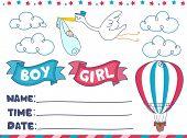 pic of gender  - Illustration of an Invitation for a Gender Reveal Event - JPG