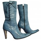 picture of lady boots  - Ladies blue genuine leather boots with needlepoint - JPG