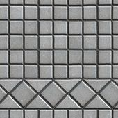 foto of paving  - Grey Pave Slabs in the Form of Small Squares and Triangles - JPG