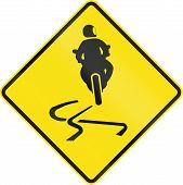 stock photo of slippery-roads  - Australian road warning sign  - JPG