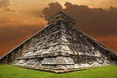 foto of mayan  - Ancient Mayan pyramid - JPG